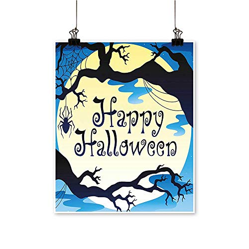 Art-Canvas Prints Happy Halloween Quote Spooky Night Moon and Branches Shadows Haunted Lights YEL Wall Art for Living Room Decoration,32