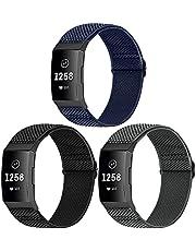 WNIPH Armband i 3-pack kompatibelt med Charge 4-/Charge 4 SE-/Charge 3-/Charge 3 SE-armband, justerbart vävt tyg, ersättningsarmband, elastiskt nylon, sportarmband för kvinnor och män