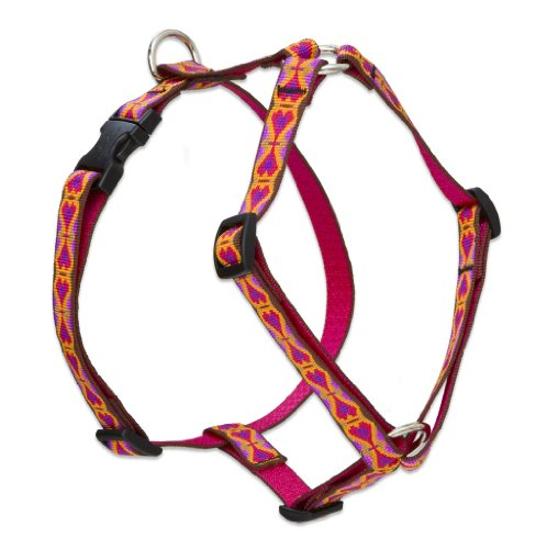 "LupinePet Originals 3/4"" Heart 2 Heart 14-24"" Adjustable Roman Dog Harness for Medium Dogs"