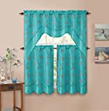 3 Piecen Double Layer Leaf Embroidered Kitchen Window Curtain Set with Valance (Blue)