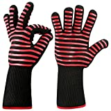 Woochy BBQ Oven Gloves Grilling Cooking Mitts Extremely Heat Resistant up to 932°F Premium Insulated & Silicone Lined Aramid Fiber