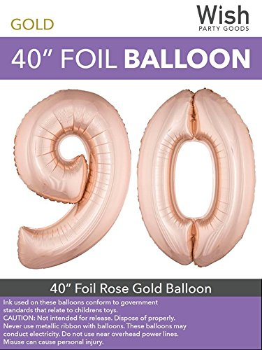 Wish Party Goods Extra Large Giant Jumbo 40 inch Rose Gold Color High Quality Mylar Foil Number Balloons - Special Milestone Birthday/Anniversary/Wedding Party Event Decorations (90)