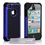 Dual Combo Grip Back Hard And Soft Silicone Gel Case For The Apple iPhone 4 / 4S Blue / Black With Screen Protector Film And Grey Micro-Fibre Polishing Cloth