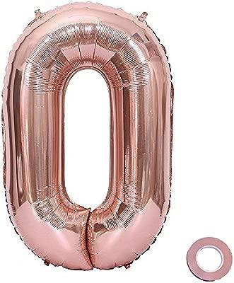 Jurxy Globo número 0-1-9 Rosegold Birthday Foil Globo de ...
