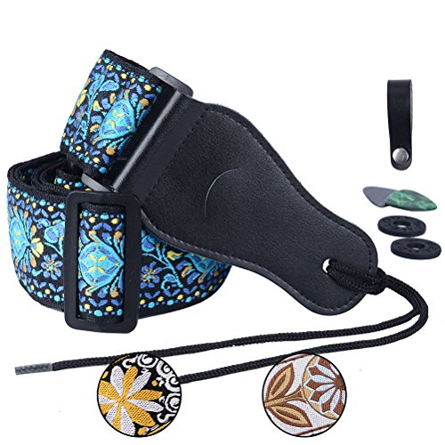 Colorful Guitar Strap Jacquard Ribbon Leather End Woven Strap Adjusted Length for Electric Bass,Acoustic&Electric Guitar - With (Random Color)2 Guitar Picks&2 Strap Locks&1 Strap Hook Button (Blue)