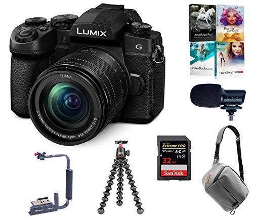 Panasonic LUMIX G95 20.3 Megapixel Mirrorless Camera, 12-60mm F3.5-5.6 Lens, Bundle with Peak Design Bag, Marantz Mic, Joby GorillaPod 3K Kit, Flip-Flash Bracket, 32GB SD Card, Corel PC Software Kit