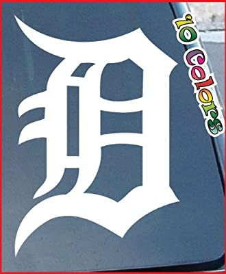 """MLB Detroit Tigers Logo Car Window Stickers 6"""" Tall (Color:White)"""