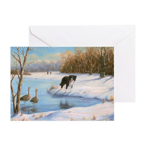 CafePress - 031 Border Collie Geese Greeting Cards - Greeting Card (20-pack), Note Card with Blank Inside, Birthday Card Glossy