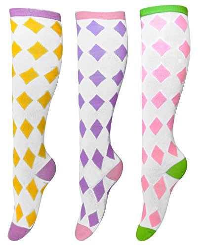 Living Socks Variety Print Knee High 3 Pair Socks 4-10 Shoe Yellow Lavender Pink