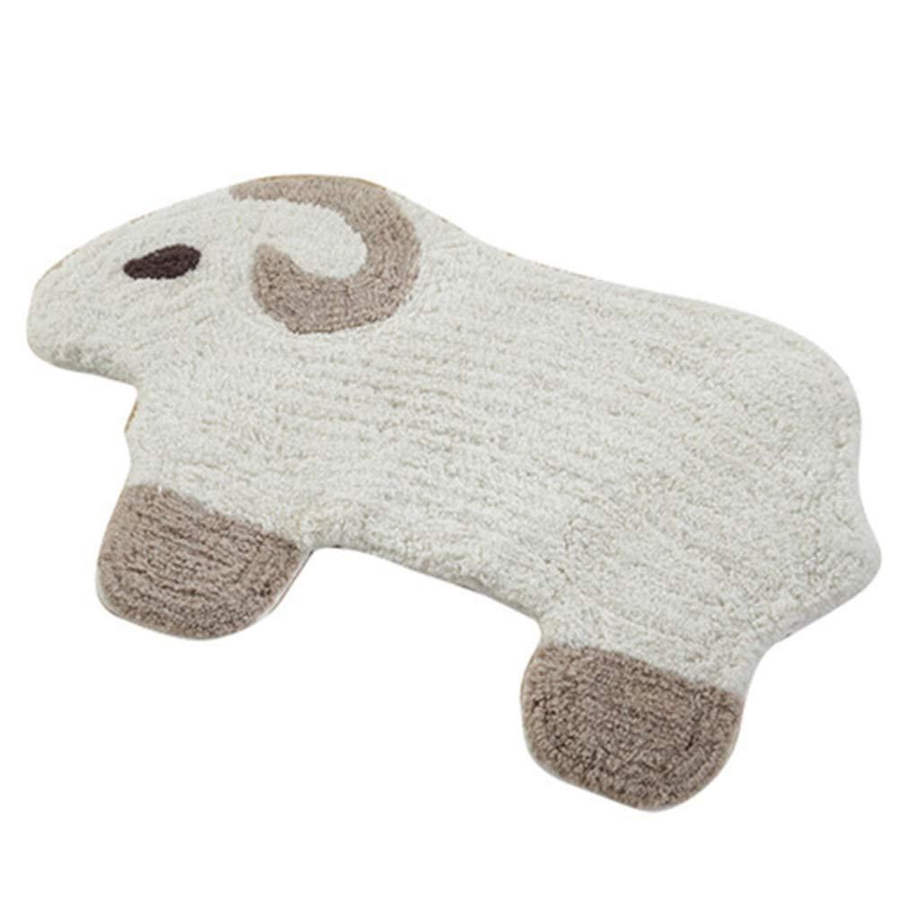 Linbing123 Furry Carpet,100% Cotton Foot Mat Absorbent Machine Washable,Plush Mats Children's Bedroom Bedside Window Mats,Bathroom Anti-Skid Carpets,50x80cm by Linbing123