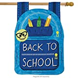 School Bag Applique House Flag Backpack Back to School 2 sided 29″ x 42″ Review