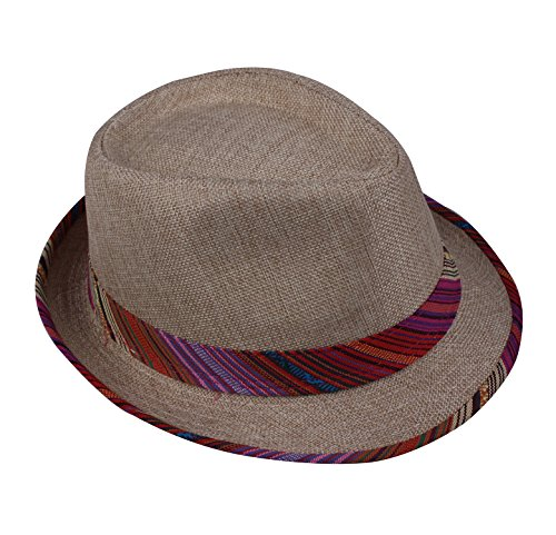 Light Brown Fedora Hats Adult Cap Colorized Ribbon Fedora Light Brown by JIERKU (Women Hipster Hats)