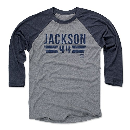 500 LEVEL Reggie Jackson Baseball Tee Shirt (X-Large, Navy/Heather Gray) York Yankees Raglan Tee - Reggie Jackson Font B (Shirts Jackson Reggie)
