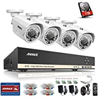 ANNKE 8CH Security Camera System 1080N Digital Video Recorder with 1TB Hard Drive and (4) 720p 1280TVL Outdoor Fixed Weatherproof Cameras, HDMI Output, QR Code Scan to Remote View