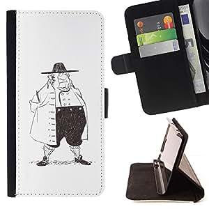 Momo Phone Case / Flip Funda de Cuero Case Cover - Historia de la Moda Hombre Dibujo al lápiz Gran Arte - Samsung Galaxy S5 V SM-G900