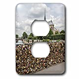 Danita Delimont - France - Paris. Love locks on Pont de lArcheveche over the Seine. - Light Switch Covers - 2 plug outlet cover (lsp_227224_6)
