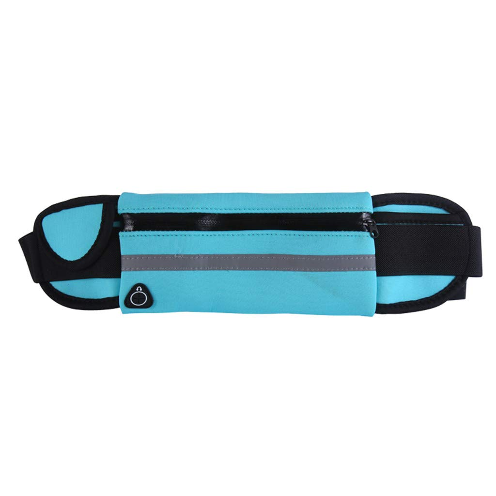 Pulison Running Pouch Belt Waterproof Sport Runner Waist Bum Bag Running Jogging Belt Pouch Zip Fanny Pack Length 70 cm to 115 cm for Men and Women (Sky Blue)