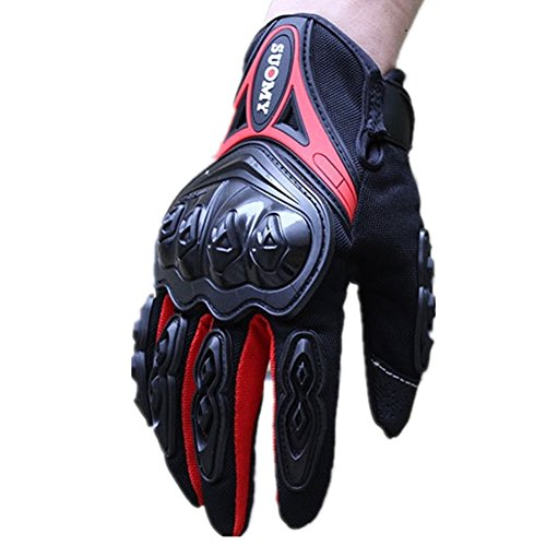 Wonzone Men's Tech Touch Gloves Full Finger Smart Motorbike Powersports Gloves for Motorcycle Racing Cycling Tactical Airsoft Outdoor Sports (Red, Large)