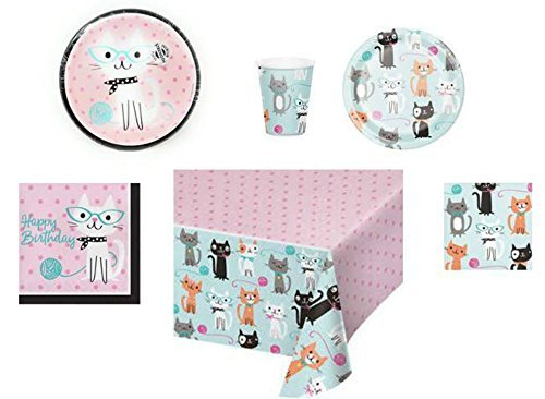 apkins, Cups, Tablecloth Cat Themed Purr-Fect Birthday Party Supplies, 6-Piece Bundle  (Purr Fect Party Beverage Napkins)