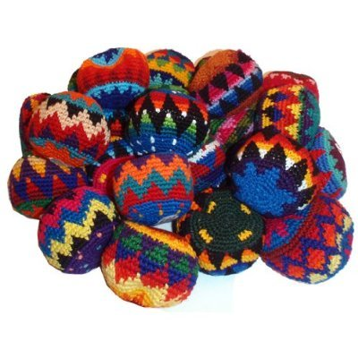12 Pack Assorted Geo Hacky Sack / Footbag - Hand Crocheted Made in Guatemala Hacky Sack / Footbag - Comes with Tips & Game Instructions - G93 by