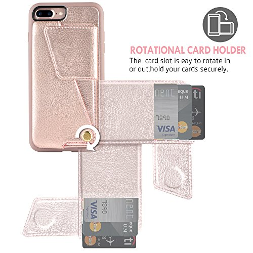 iPhone 8 Plus Wallet Case, ZVEdeng iPhone 7 Plus Card Holder Case, Protective Shockproof Leather Wallet Case with Card Holder for Apple iPhone 8 Plus (2017)/iPhone 7 Plus (2016) - Rose Gold … by ZVEdeng (Image #2)