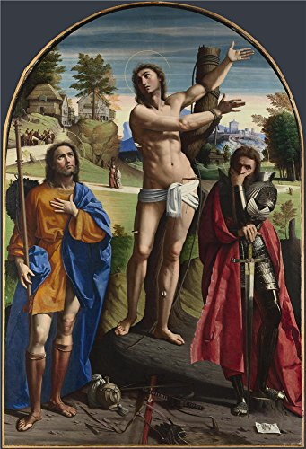 'Ortolano Saints Sebastian Roch And Demetrius ' Oil Painting, 20 X 29 Inch / 51 X 75 Cm ,printed On Polyster Canvas ,this Best Price Art Decorative Prints On Canvas (Aqua Bella Costumes Wig)