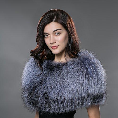 URSFUR Capote espesa de mujeres piel y pelo de zorro cálido en invierno otoño suave moda gris