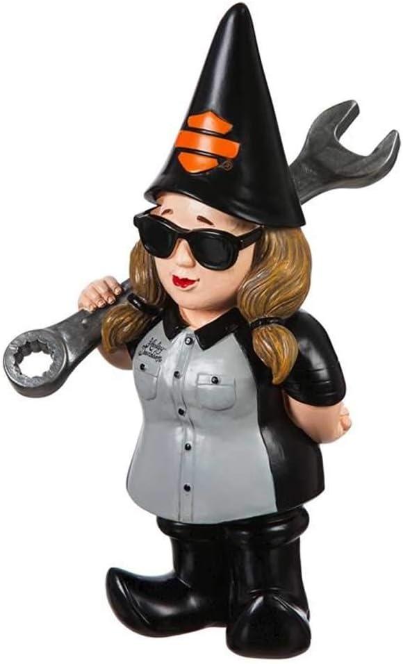 Harley-Davidson Mechanic Lady Polystone Garden Gnome, 8.5 x 5 in. 544902E