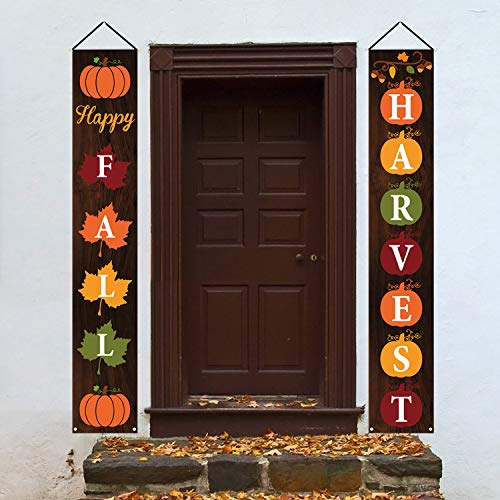 Mosoan Happy Fall Porch Sign - Fall Decorations Outdoor Indoor - Happy Fall Harvest Banner Sign - Fall Autumn Thanksgiving Party Yard Front Door Hanging Decor