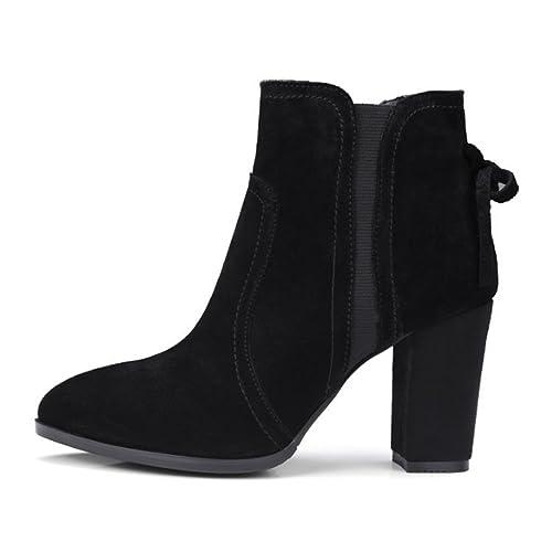 Botas cortas Mujer Otoño e Invierno versión coreana Cuero genuino Tacón  grueso Martin botas Cabeza redonda b9f2d232312c