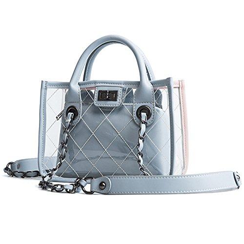 Bolsa Gwqgz Sesgar Negro Solo Moda Hombro Bolso Nueva Blue Transparente Spanning Señoras xp06Axq