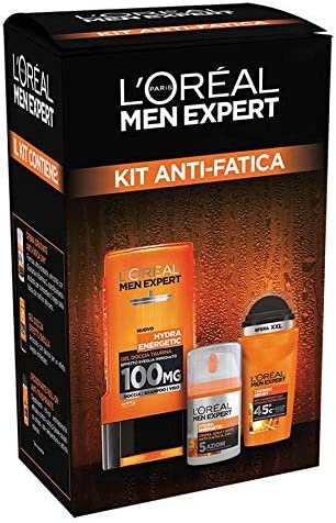 LOréal Paris Men Expert - Estuche antifatiga Hydra Energetic, con crema facial hidratante Hydra Energetic, gel de ducha Hydra Energetic y desodorante Roll-on Thermic Resist: Amazon.es: Belleza