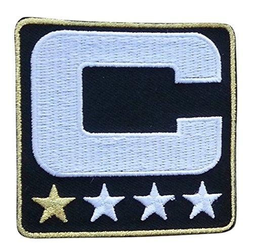 Black Captain C Patch (1 Gold Star) Iron On for Jersey Football, Baseball. Soccer, Hockey, Lacrosse, Basketball]()