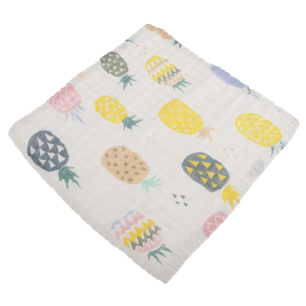 Fenteer Infant Kids Baby Burp Feeding Saliva Towel, Dribble Triangle Bandana Bibs - Colorful Pineapple, 28 x 28cm