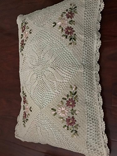 """A & MT Beautiful Crochet Lace Ribbon Embroidered Hand Made Pillow Cover: 20""""X30""""(51cmx76cm)/Pair: Oblong. Beige"""
