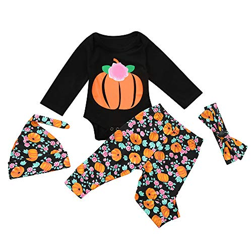 iLOOSKR Halloween Toddler Infant Baby Girls Boys Letter Pumpkins Bow Hat Romper Outfits Set ()