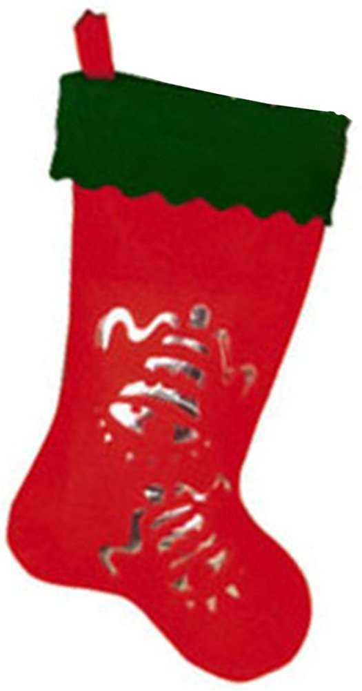 19'' Red Green Christmas Stocking Silver Bell Silhouette
