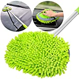 GreatCool 2 in 1 Chenille Microfiber Car Wash Mop Mitt with 44.5' Aluminum Alloy Long Handle,Brush Duster Not Hurt Paint Scratch Free Cleaning Tool Dust Collector Supplies for Washing Car,Truck, RV