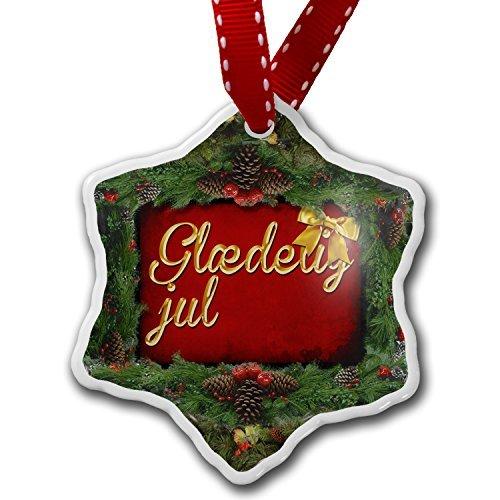 Christmas Craft Tree Decorations Merry Christmas In Danish From Denmark Faroe Islands Christmas Ornament Custom Xmas Gift