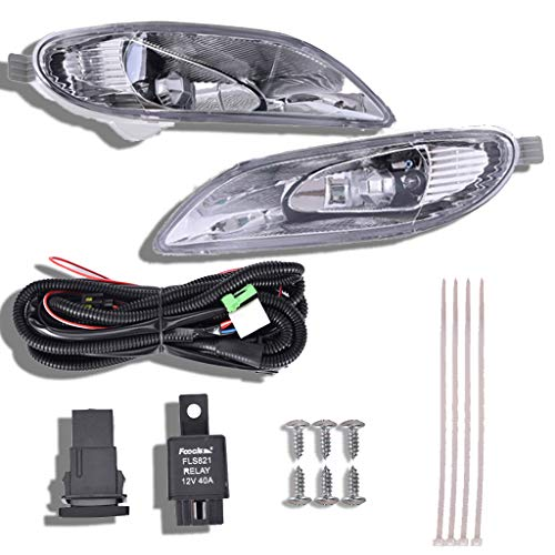 shamoluotuo Clear Fog Lights Kit for 2002-2004 Toyota Camry/2005-2008 Corolla w/ Chrome Cover Black Bezel Wiring Switch Bulbs Left & Right Bumper Driving Assembly Lamps OEM Requirements (White) (Charger Coupe)