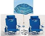 Tommy Bahama Beach 3 Pc Set Plus Bonus: 2 Backpack Beach Chairs and Matching Umbrella (Blue/Green Stripe) Plus Bonus Bracelet