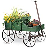 Amish Wagon Decorative Garden Planter, Green