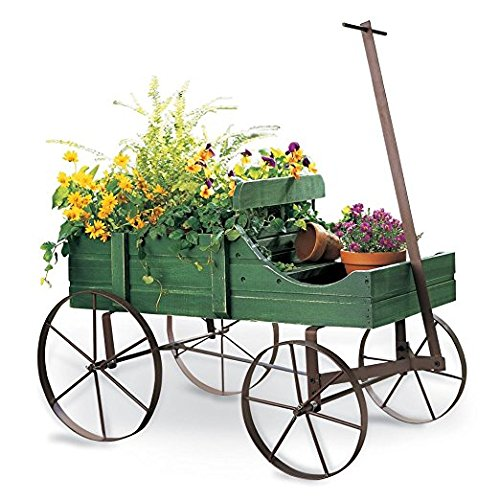 - Amish Wagon Decorative Garden Planter, Green
