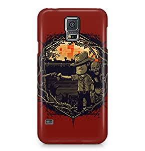 The Walking Dead Rick Grimes Cartoon Dark Red Hard Plastic Phone Case Cover For Samsung Galaxy S5