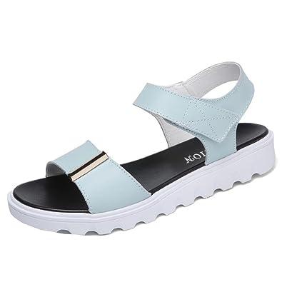 Binying Damen Peep-Toe Flache Klettverschluss Sandalen