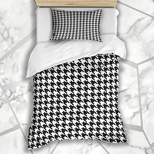 - Ahawoso Duvet Cover Sets Twin 68X86 Suit Tooth Houndstooth Pattern Black Dog Woven Abstract Check Checkered Classic Design Microfiber Bedding with 1 Pillow Shams