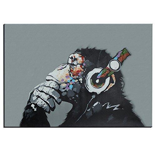 100% Handgemalte Tier Öbilder Ölgemälde Leinwand Affe Kopfhörer Gemälde Wohnkultur Dekor, ohne Rahmen