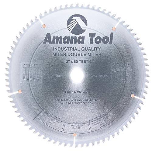 80t Atb Thin - Amana Tool - MS12800 Carbide Tipped Miter 12
