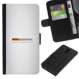 KLONGSHOP // Tirón de la caja Cartera de cuero con ranuras para tarjetas - Butt fumadores - Gracioso - Samsung Galaxy Note 4 IV //