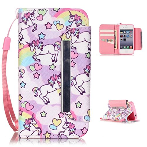 4S Wallet Case,Kmety(TM) for iPhone 4 PU Leather 2in1 Case Flip Folio Magnetic Design[Built-in Credit Card Slots]with Painted Unicorn Pattern ()
